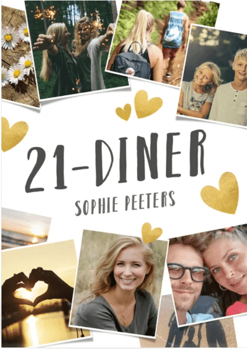 21 diner uitnodiging thema