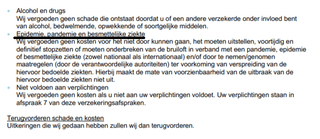 Uitsluitingen huwelijkverzekering van trouwzeker.nl