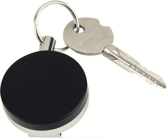 uittrekbare rvs-broekclip sleutelhanger en pasjeshouder